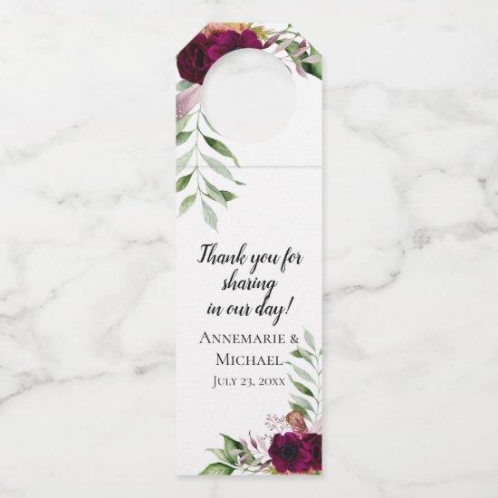 Bohemian Romance Watercolor Floral Bottle Hanger Tag