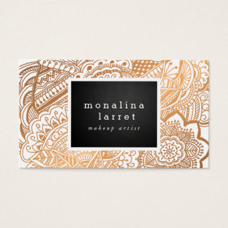 Bohemian Rose Gold Hand Drawn Doodle Business Card