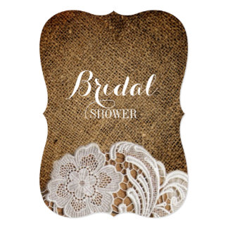 bohemian rustic western country burlap and lace card