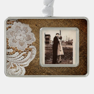 bohemian rustic western country burlap and lace christmas ornament