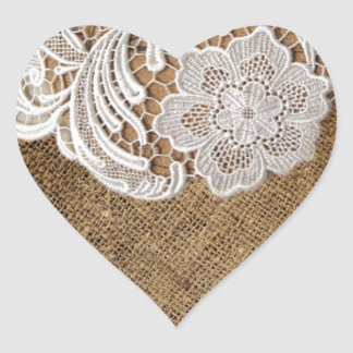 bohemian rustic western country burlap and lace heart sticker