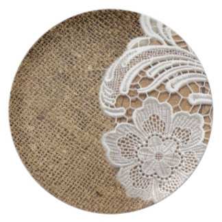 bohemian rustic western country burlap and lace melamine plate