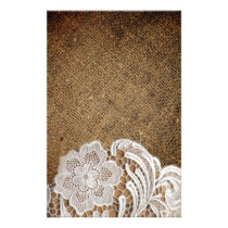 bohemian rustic western country burlap and lace stationery