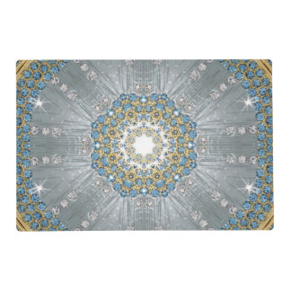 Bohemian Sequins Diamond Silver blue mandala Placemat
