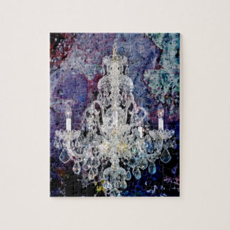 Bohemian Shabby Chic purple watercolor Chandelier Jigsaw Puzzle
