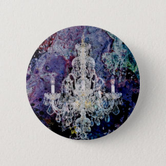 Bohemian Shabby Chic purple watercolor Chandelier Pinback Button