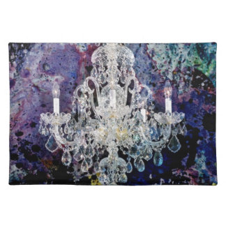 Bohemian Shabby Chic purple watercolor Chandelier Placemat