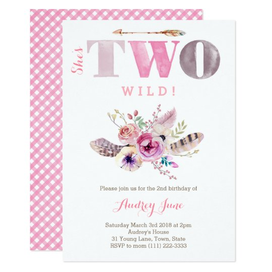 Bohemian Shes TWO Wild 2nd Birthday Party Girl Invitation
