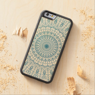 Bohemian Sky and Turquoise Blue Fractal Design Carved Maple iPhone 6 Bumper Case