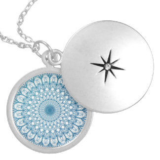 Bohemian Sky and Turquoise Blue Fractal Design Round Locket Necklace