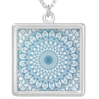 Bohemian Sky and Turquoise Blue Fractal Design Silver Plated Necklace