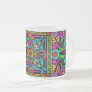 Bohemian Stained Glass Style Frosted Glass Coffee Mug