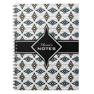 Aztec Themed Bohemian style blue yellow diamond shaped design notebook