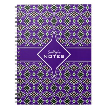 Aztec Themed Bohemian style purple green diamond shaped design notebook