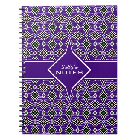 Bohemian style purple green diamond shaped design notebook
