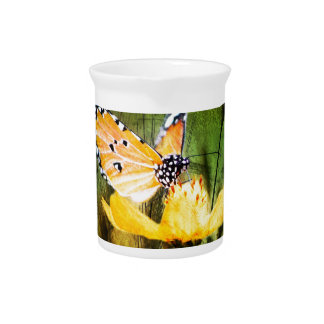 Bohemian summer daisy western country butterfly drink pitcher