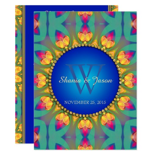 Bohemian Sunflower Monogram Large Invitation