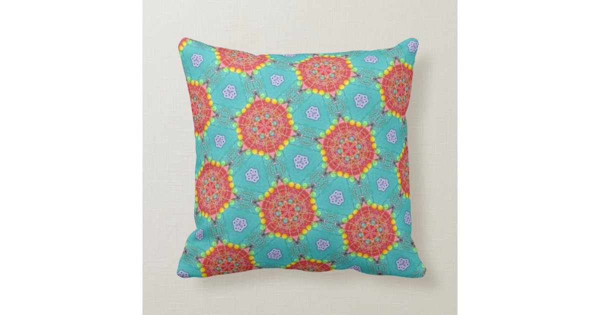 Teal And Orange Decorative Pillows : Bohemian Teal and Orange Spirograph Throw Pillow Zazzle