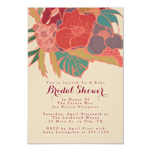 Bohemian Themed Floral Invitation Bridal Shower