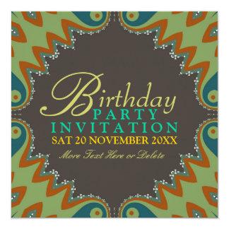 "Bohemian Tribal Birthday Party Invitations 5.25"" Square Invitation Card"