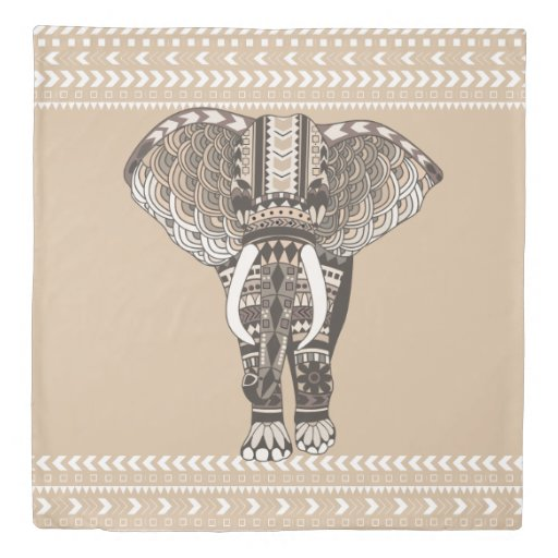 Bohemian Tribal Elephant Taupe And White Duvet Cover Zazzle