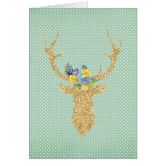 Bohemian Tribal Gold Deer Antlers Purple Floral Card