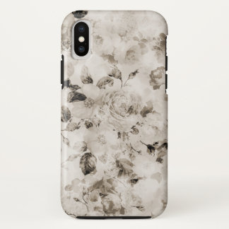 Bohemian vintage elegant white gray roses floral iPhone x case