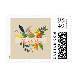 Bohemian Vintage Floral Thank You Stamp