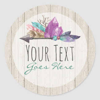 Bohemian Watercolor Crystals Arrow Rustic Wood Classic Round Sticker