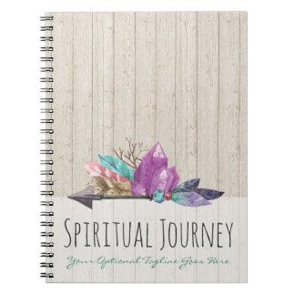 Bohemian Watercolor Crystals Arrow Rustic Wood Notebook