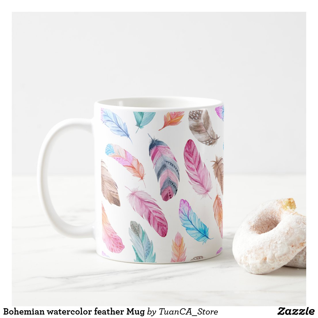 Bohemian watercolor feather Mug