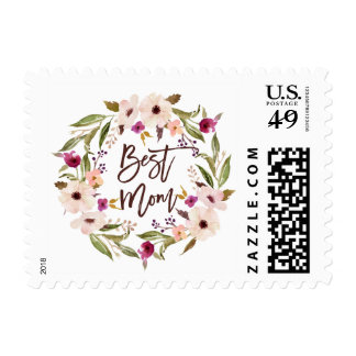 Bohemian Watercolor Floral Wreath Best Mom Script Postage