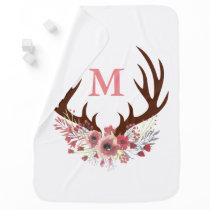 Bohemian Watercolor Flowers & Deer Antlers Initial Baby Blanket