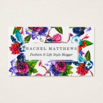 Bohemian Watercolor Flowers Deer Antlers Leaves Business Card