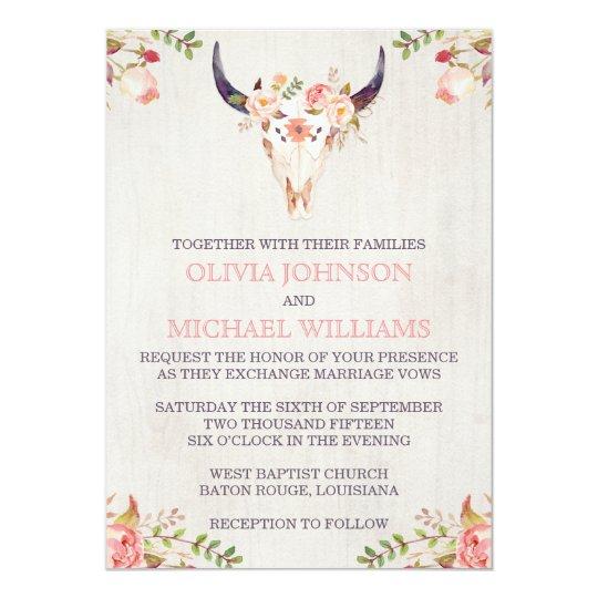 Bohemian Watercolor Skull Wedding Invitations Zazzlecom