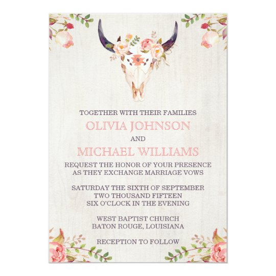 bohemian watercolor skull wedding invitations - Skull Wedding Invitations