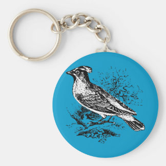 Bohemian Wax Wing Basic Round Button Keychain