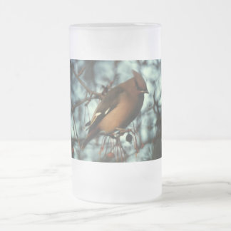 Bohemian Waxwing #01 Frosted Glass Beer Mug