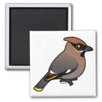 Bohemian Waxwing Square Magnet