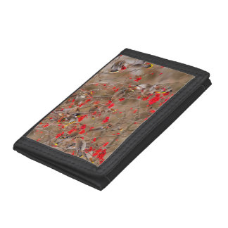 Bohemian Waxwings Feeding On Mountain Ash Tri-fold Wallet