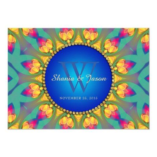 Bohemian Weddin Sunflower Monogram 5x7 Invitation