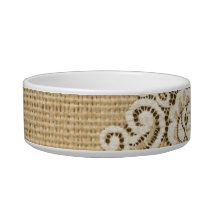 Bohemian Western country rustic burlap and lace Bowl