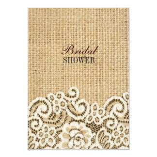 Bohemian Western country rustic burlap and lace Card