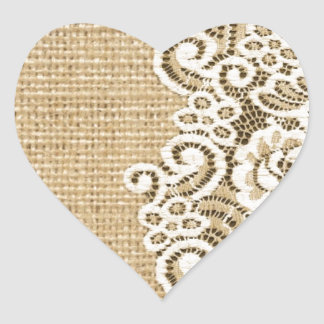 Bohemian Western country rustic burlap and lace Heart Sticker