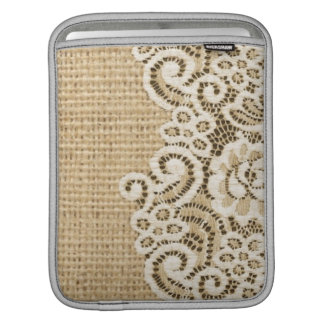 Bohemian Western country rustic burlap and lace iPad Sleeve