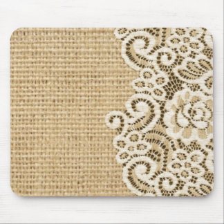 Bohemian Western country rustic burlap and lace Mouse Pad