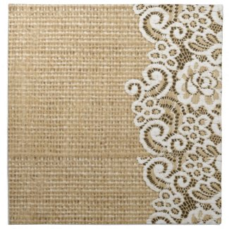 Bohemian Western country rustic burlap and lace Napkin