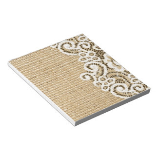 Bohemian Western country rustic burlap and lace Notepad