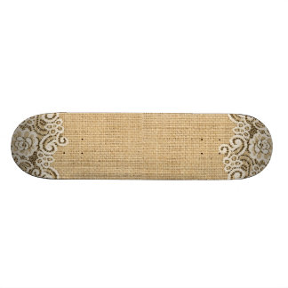 Bohemian Western country rustic burlap and lace Skateboard
