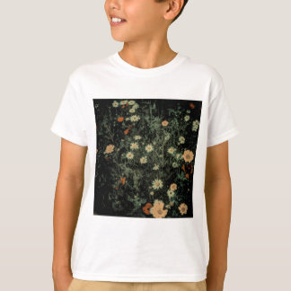bohemian whimsical orange wildflower black floral T-Shirt